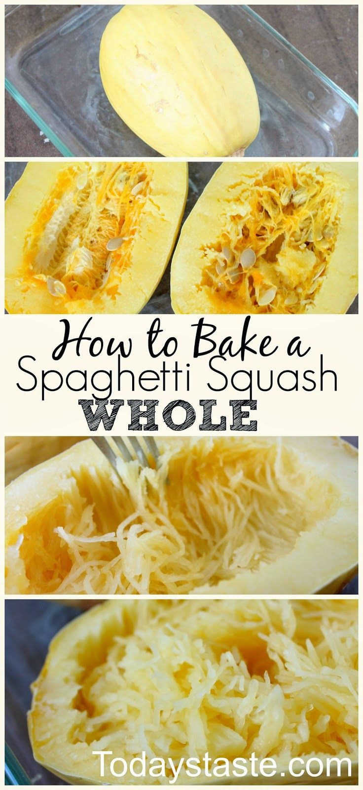 How to Bake A Spaghetti Squash Whole - So much easier than cutting it in half first!