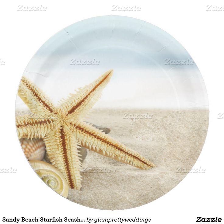 Sandy Beach Starfish Seashells 7 Inch Paper Plate