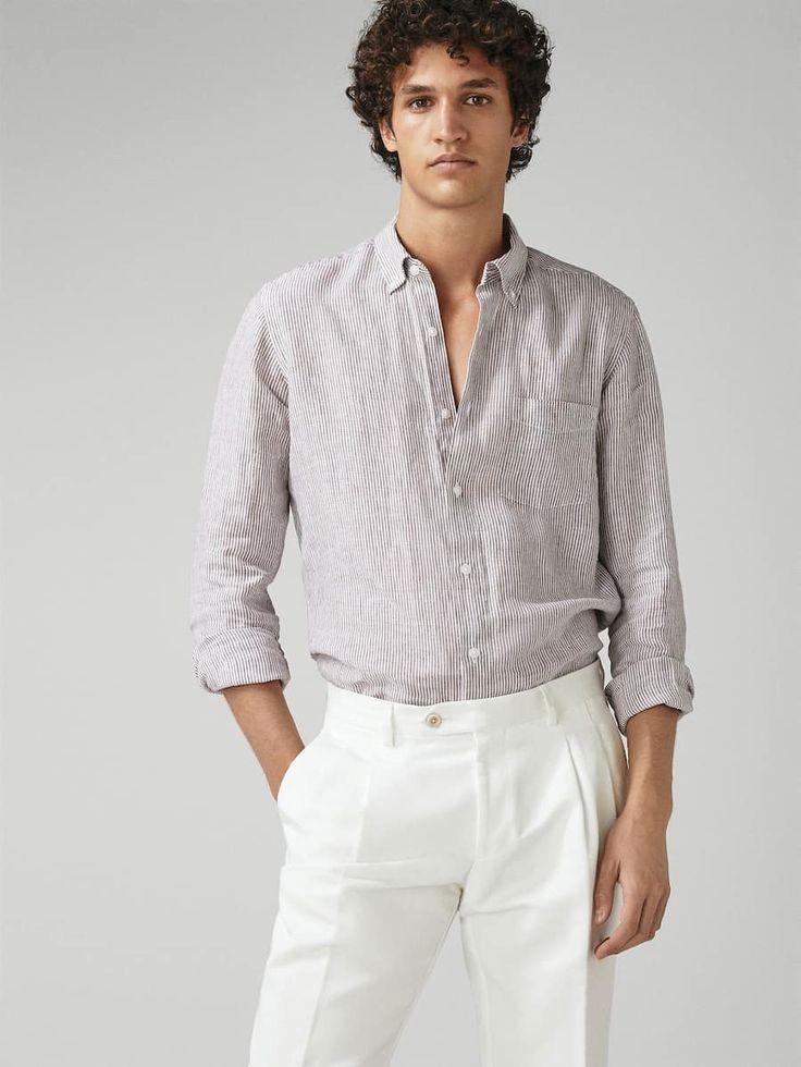Slim Fit Striped 100 Linen Shirt Men Massimo Dutti In 2020 Striped Linen Shirt Linen Shirt Men Linen Shirts Women
