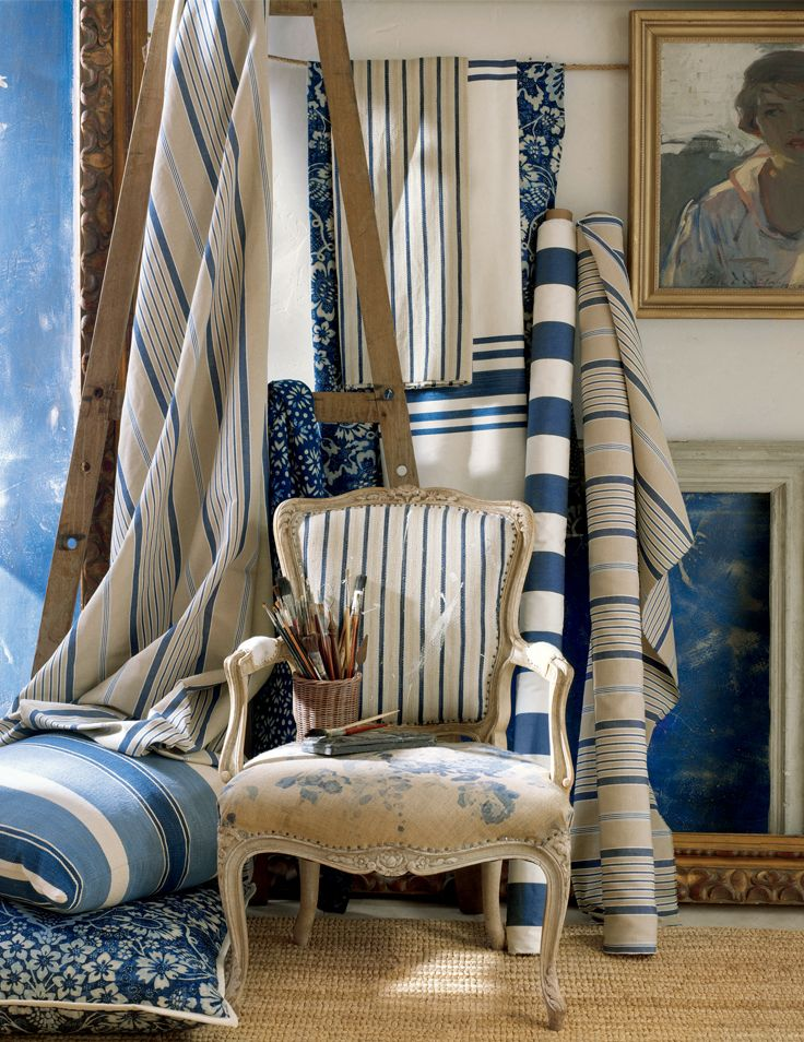 Ralph Lauren Home's blue and white fabric in the La Plage collection - chic linens and silks in an artful maritime palette