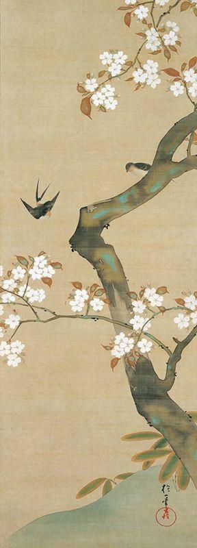".;. Sakai Hoitsu, ""Birds and flowers twelve months of the year"" (the third month)."