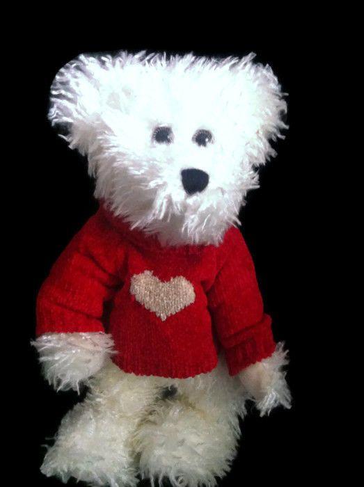 "Boyds Bears Juliet S Bearlove 12"" White Bear #912651 Valentine Red Heart Sweater #BoydsBears"