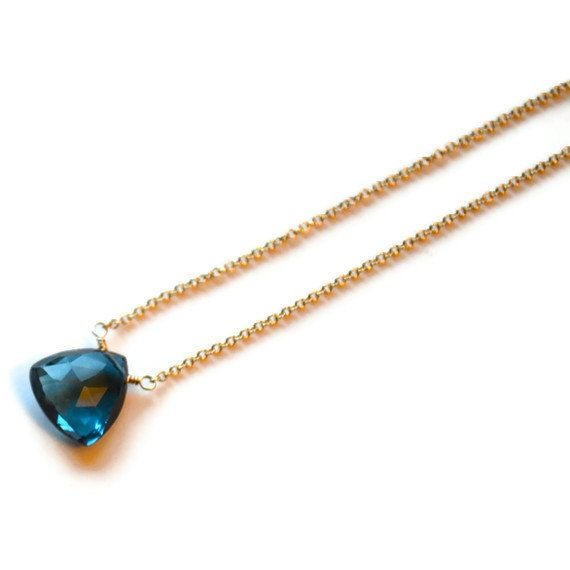 London Blue Topaz on 14k gold chain from Gewgaws & Gimcracks on Etsy. $96