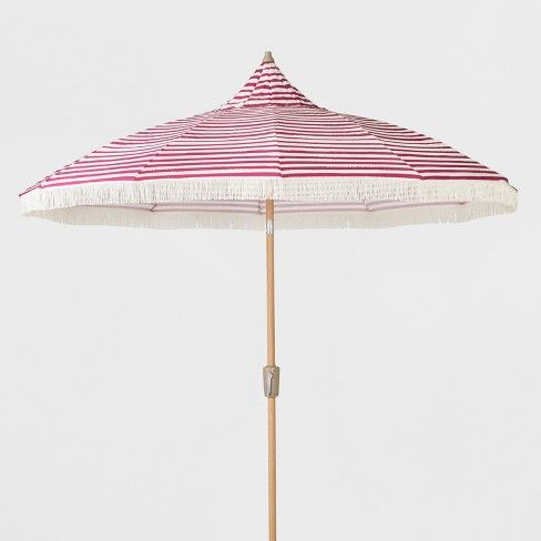 6747f5e9f $100 9' Striped Patio Umbrella with Fringe - Pink & White - Opalhouse™ :  Target
