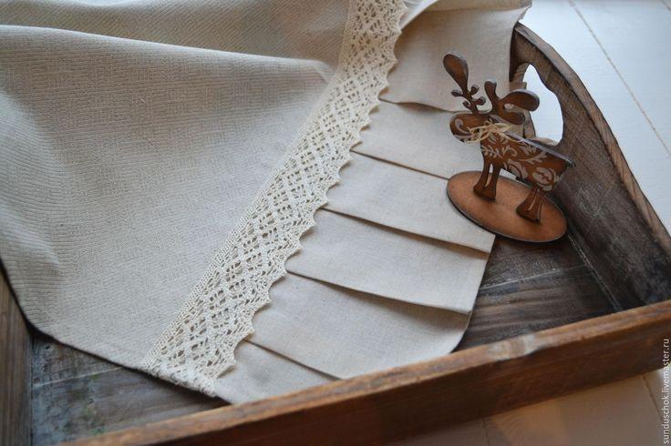 Купить Льняная дорожка-скатерть бежевая с кружевом, сервировка стола - льняная дорожка, дорожка-скатерть