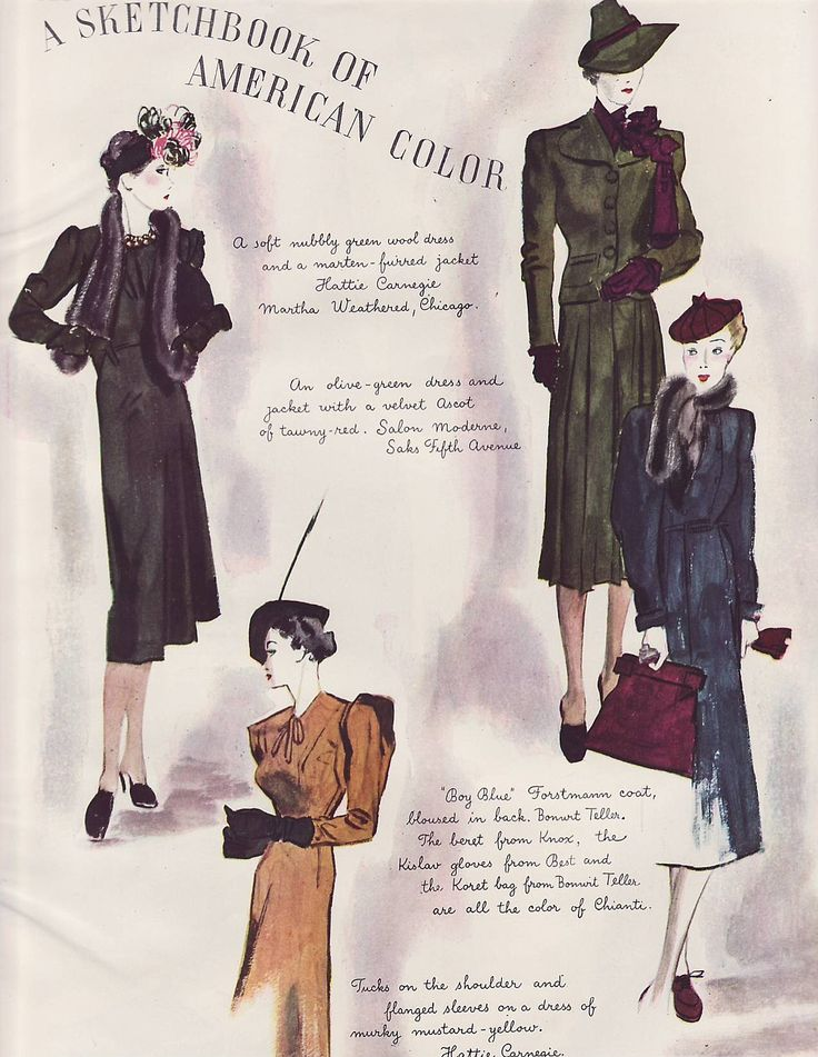 Vintage Ad Harpers Bazaar Fashion Sketchbook of American Color 1938 4pg (Image1)