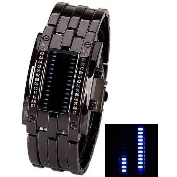 Waterproof Watch with Blue Light Time Date Indicate Steel Watchband... ($10) ❤ liked on Polyvore featuring men's fashion, men's jewelry, men's watches, mens blue watches, mens waterproof watches and mens stainless steel watches
