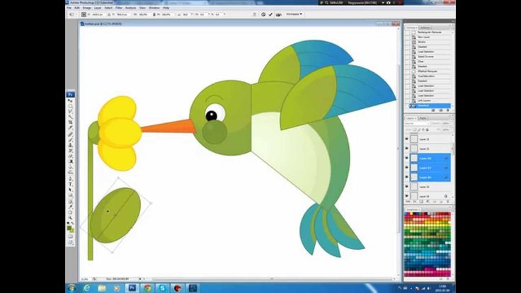 Illustrating drawing painting - cartoon humming bird Jak namalować kolibra
