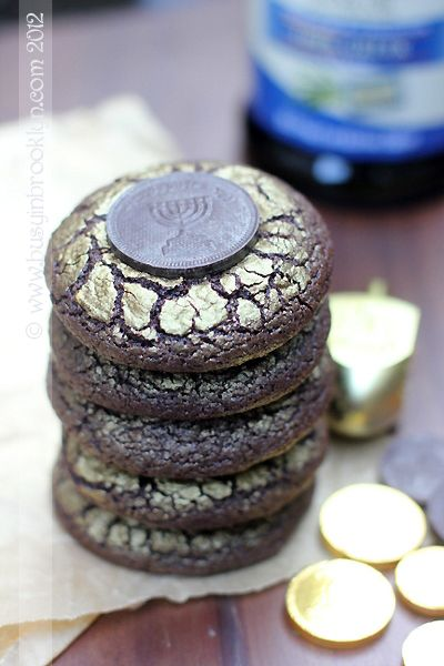 Chanukah holiday cookies - chocolate and olive oil GOLD crinkle cookies for Hanukkah