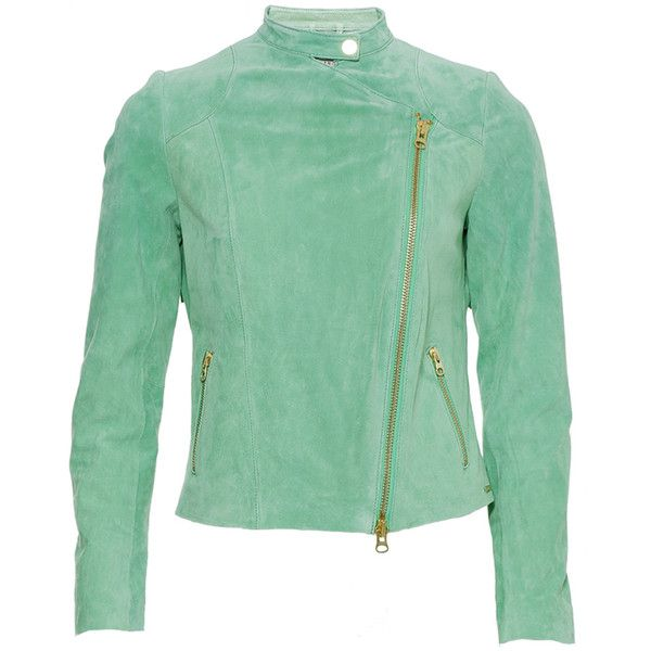 Ibana Jacket Hana Fringes Green ($105) ❤ liked on Polyvore featuring outerwear, jackets, green, asymmetrical leather jackets, leather jackets, asymmetrical jacket, fringed leather jackets and asymmetrical zipper jacket