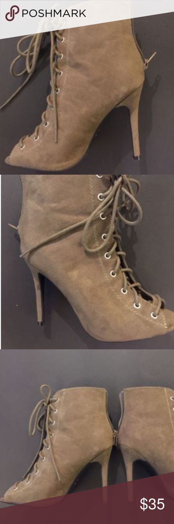 Charlotte Russe Olive Green Suede Lace Up Bootie Charlotte Russe Olive Green Suede Lace Up Bootie, Size 6 Womens  Elegant Tie up Sandal High Heel, Great for any occasion, Show off your dainty digits with these peep toe heels Charlotte Russe Shoes Ankle Boots & Booties