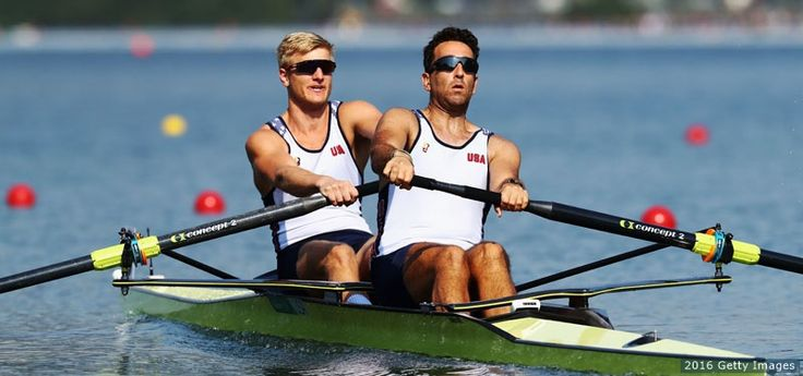 L-R) Anders Weiss and Nareg Guregian compete in the men's pair semifinals at the Rio 2016 Olympic Games at the Lagoa Stadium on Aug. 9, 2016 in Rio de Janeiro.