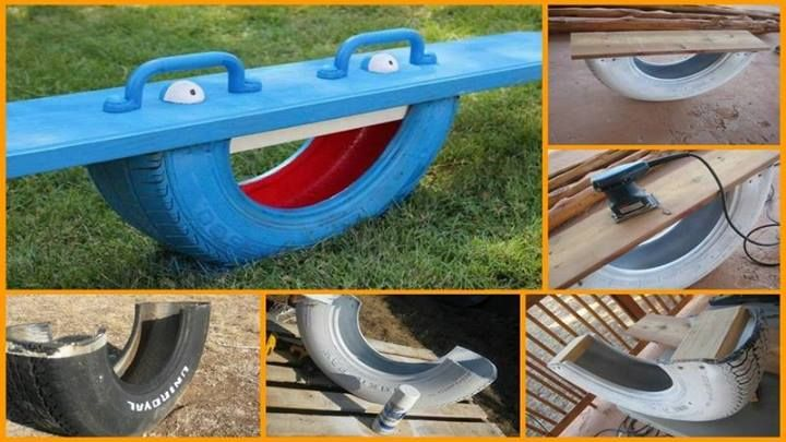Repurpose an old tire into a fun SeeSaw for the kids! Very Neat DIY Idea that uses up old Tires! ~Budget101  Tutorial Here: http://sweetteal.wordpress.com/2011/08/21/diy-recycled-tire-rocker-aka-tire-teeter-totter/