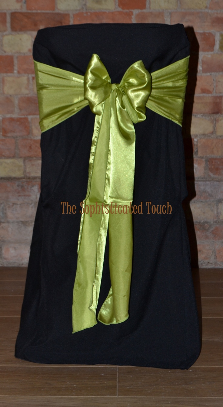 Black Chair Covers with Apple Green Satin Bows