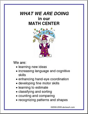 "What We Are Doing Signs  and Center Signs. Big variety to print and post in the classroom or home learning centers. The ""WHAT WE ARE DOING"" poster signs are perfect to post and inform parents what skills are being taught in each center.  Over thirty free downloads at abcteach.com."