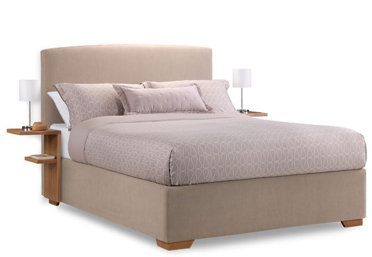 Cream fabric max storage bed with bedside tables furniture n bytek pinterest storage - Table that attaches to bed ...