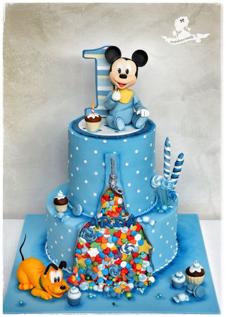 Astonishing Mickey Mouse Birthday Cake For 1 Year Old Boy The Cake Boutique Funny Birthday Cards Online Elaedamsfinfo
