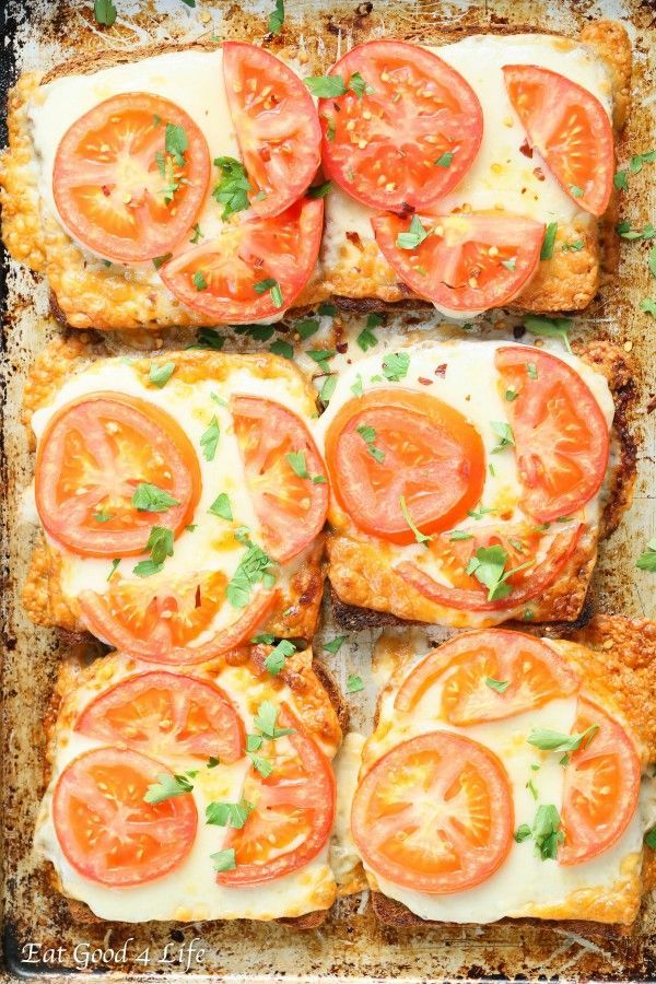 Eat Good 4 Life Super easy tomato cheese toasts. Done in under 10 minutes and only 3 ingredients. It can be done gluten free.