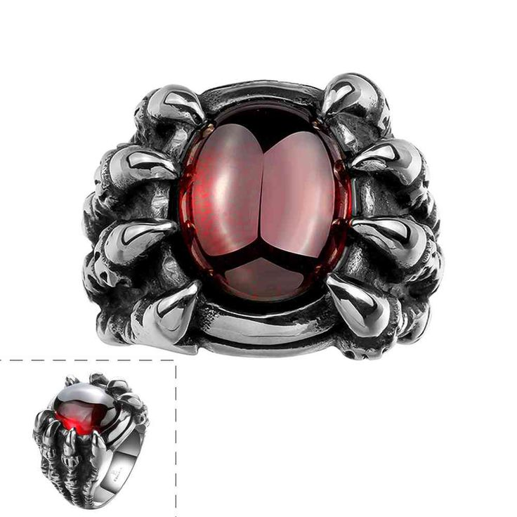 Vintage Love stainless steel rings for women insets big ruby anel de ouro jewelry MAYAR118
