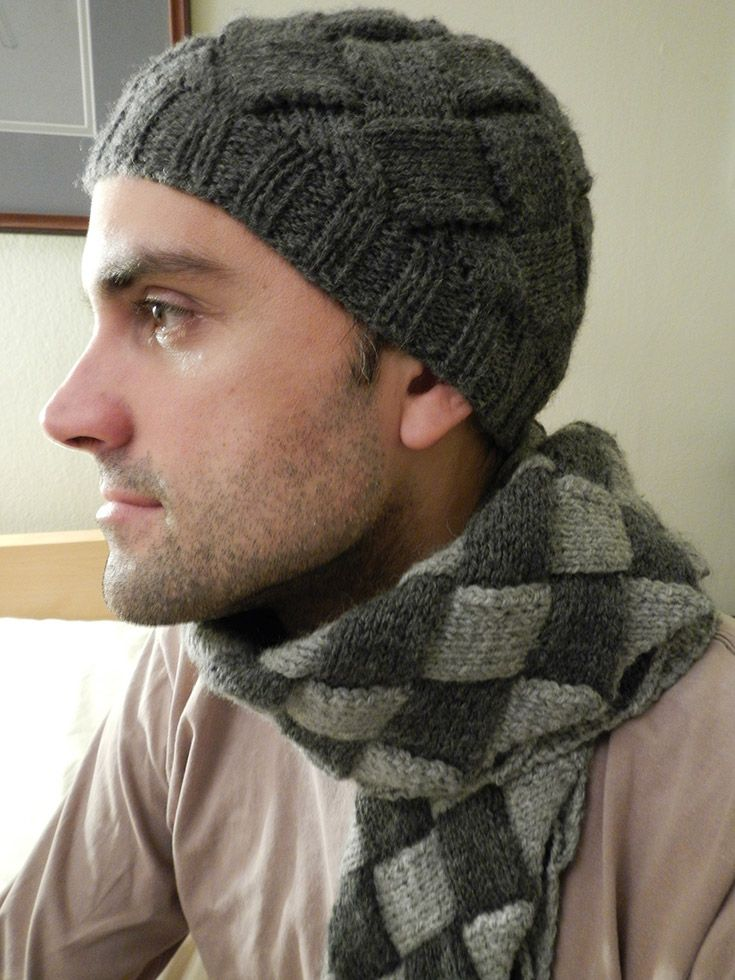 Entrelac men's hat & scarf, Paton's 100% wool. The pattern I just made up as I went along.