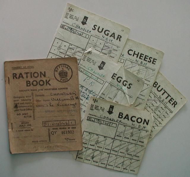 1942 Ration Book.  Address:  the Vicarage, Stoke Holy Cross, England