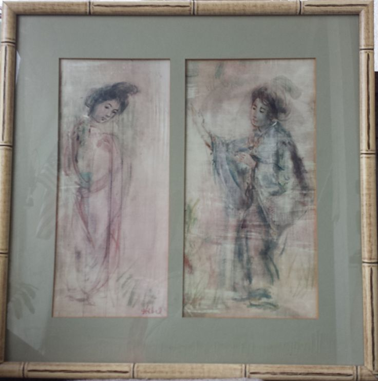"Paintings ""Geisha Girls"" by Edna Hibel - TWO RARE PIECES by Foundtreasures4you on Etsy"
