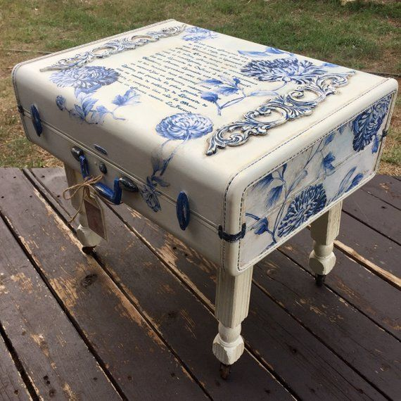 SOLD! French Country Suitcase Table Luggage Coffee Table Farmhouse Coffee Table End Table Vintage Pa