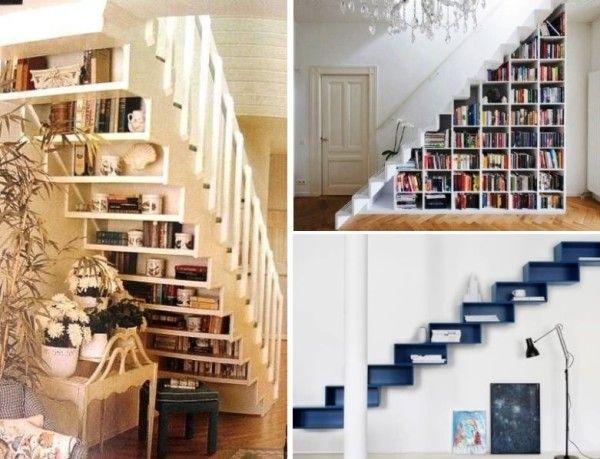Полки в ступенях и под лестницей.