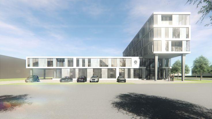 Ontwerp van nieuwbouw kantoorpand met werkloods in Utrecht. USE architects