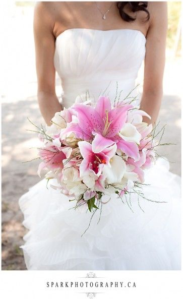 Love the lilies on this bouquet - Photo courtesy Spark Photography