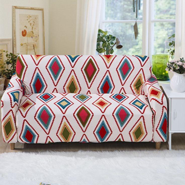 Modern Geometric Colorful Sofa Cover Gorgeous Sofa Protectors For 4 Seasons  L Vormige Sofa Cover Single