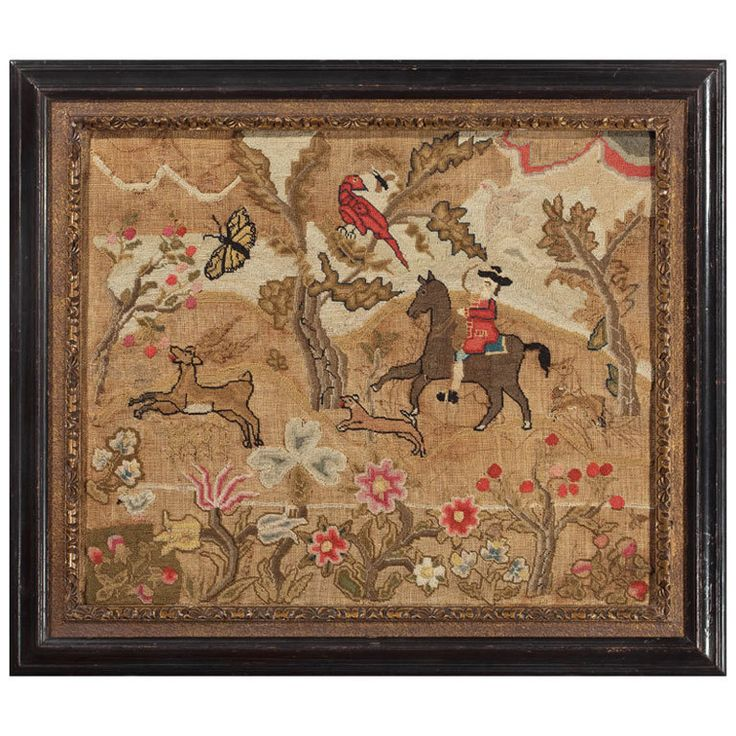 Excellent Early Boston Canvaswork Picture American circa 1750 This praiseworthy example of Boston needlework, partially worked and partially unfinished, features the classic bucolic scenes of gentlefolk in settings with flora and fauna.