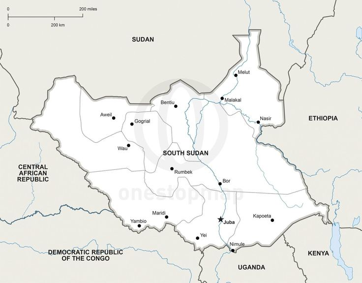 Vector Map Of South Sudan Political - What continent is sudan in