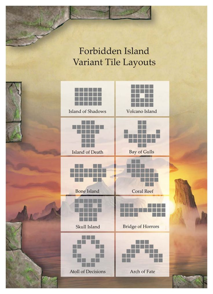 for our Forbidden Island game nights. Forbidden Island Variant Tile Layouts