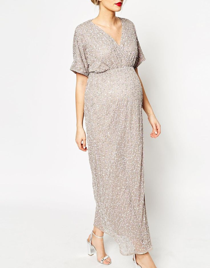 Image 3 of ASOS Maternity Kimono Maxi Dress In Sequin