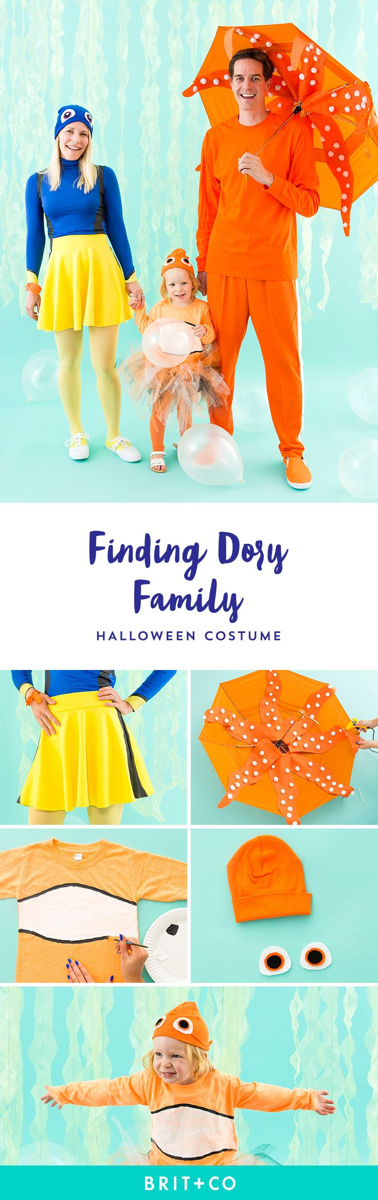 Save this Finding Dory family costume to learn how to dress up as Dory, Hank + Nemo for Halloween.