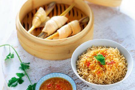 Ψάρι στον ατμό με καστανό ρύζι - Συνταγές | γαστρονόμος