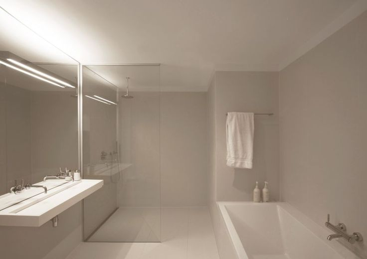 Interior, Home 07: Modern Spacious White Apartment By i29: Modern White Bathroom Design Glass Wall Shower