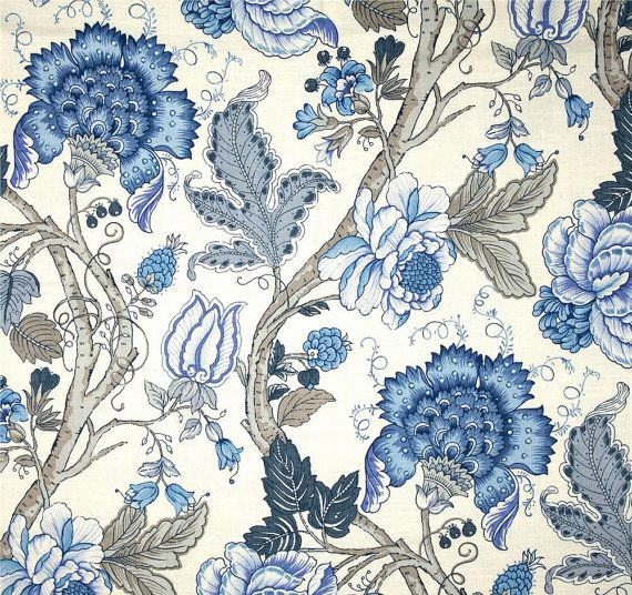 "Blue Grey Floral Drapes, Blue Floral Curtains, Jacobean Style Floral Window Curtains, Blue Home Decor, Rod-Pocket Curtains, One Pair 50""W"