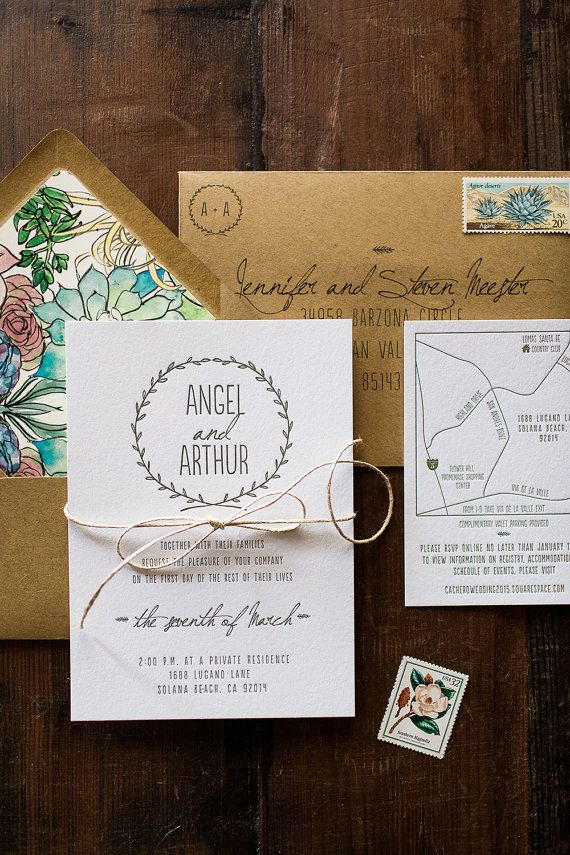 This sweet and simple letterpress invitation is a nature lovers dream invite! The invitation suite featured in the photograph is one color
