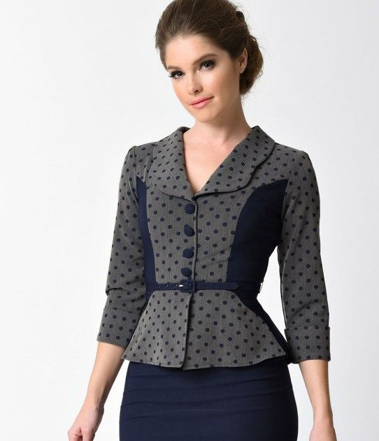 Stop Staring! Navy Blue & Grey Dotted Sleeved Leonora Wiggle Dress