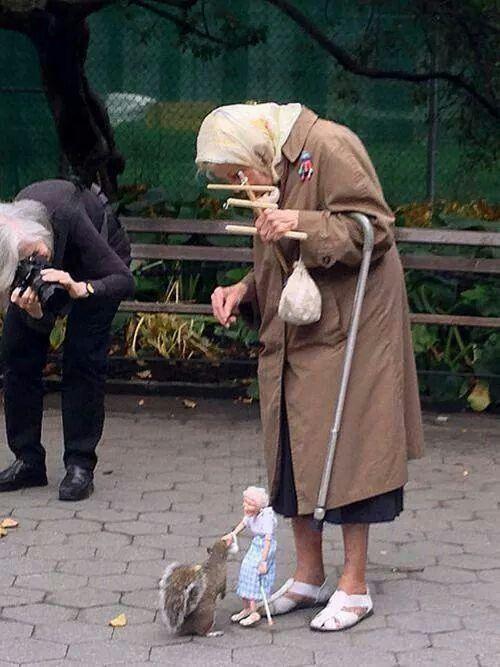 إمرأة مسنه تداعب السنجاب بدمية متحركة بينما تقوم أخرى بتصويرهما ، المرح لا عمر له