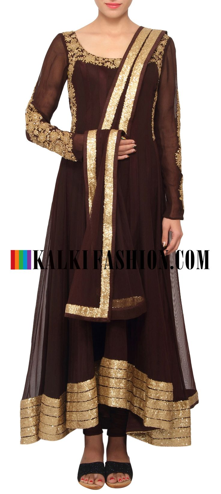 Buy Online from the link below. We ship worldwide (Free Shipping over US$100) http://www.kalkifashion.com/brown-coloured-salwar-suit-with-dupatta-only-on-kalki.html