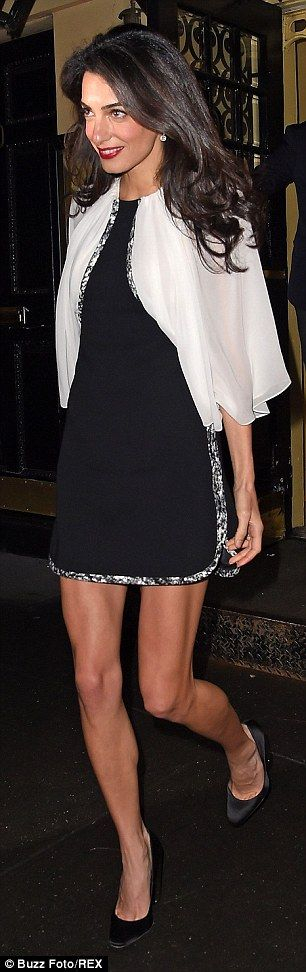 Amal Clooney puts on a leggy display on a date night with George #dailymail