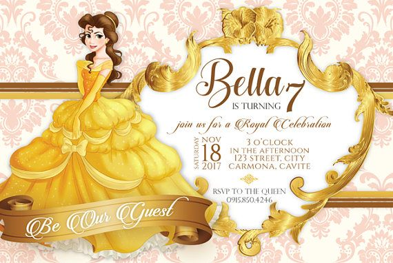 Belle of Beauty and the Beast Birthday Invitation Template ...