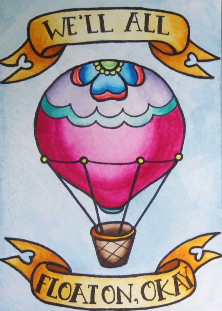 ''We'll all Float On'' hot air balloon art print - Modest Mouse lyrics