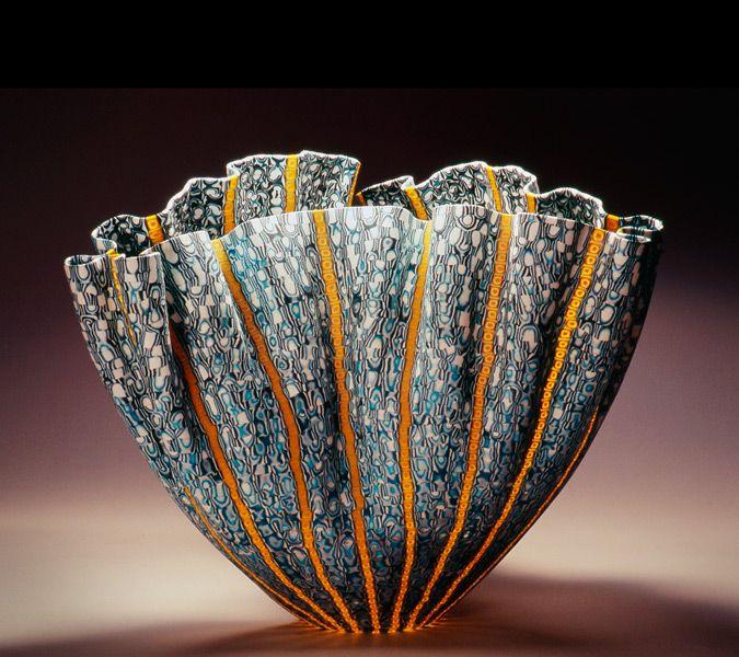 "Mel Munsen: 'Bol ondulé' (2011). Fused and slumped glass murrini, 9"" x 13"" x 10""  More at http://www.galerieelenalee.com/portfolio/mel-munsen/"