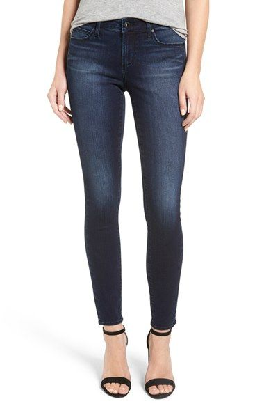 Articles of Society Sarah Skinny Jeans  Soft fading and gentle whiskering add dimension to stretch-denim skinnies in a deep blue wash.