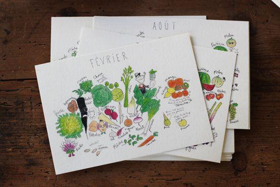 Le calendrier illustré des fruits et légumes de saison  lot
