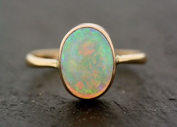 Antique Opal Ring Vintage Opal 9ct Gold Ring Fashion